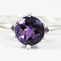 Amethyst Solitaire Ring - Sterling Silver