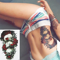 Skulls and Red Roses Fake Tattoo Sticker 8x5 inches Waterproof