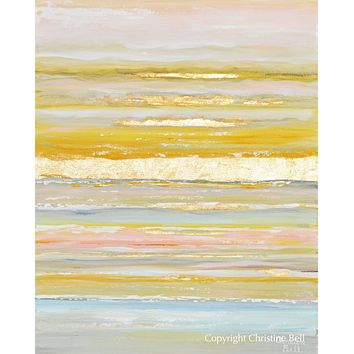 """""""Daydreams"""" GICLEE PRINT Art Coastal Abstract Painting Gold Leaf Pastel Light Blue Pink"""