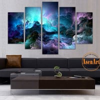 5 Panel Abstract Wall Art Canvas Prints Abstract Colorful Cloud Painting for Modern Home Decoration Wall Pictures Unframed