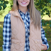 Quilted Equestrian Vest - Camel