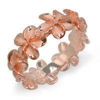 Plumeria Eternity Ring with14K Rose Gold Finish - 8mm