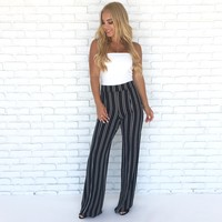Seeing Stripes High Waist Flare Pants In Black