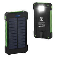 Solar Phone Charger, FKANT 10000mAh Portable Battery Charger Outdoor Dual USB External Battery Pack Solar Power Bank with LED Light and Compass for iPhone iPad Android Phones and More