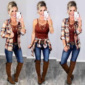 Penny Plaid Flannel Top - Taupe/Navy