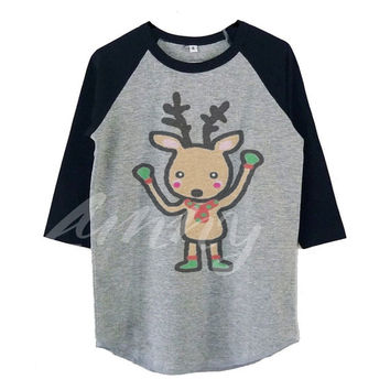 Reindeer shirts for toddlers raglan shirt for kids >>View bust size in inches options **toddlers boys girls tops Baby clothes
