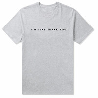 """""""I m fine thank you"""" letters print pure color man short sleeve tee top gray"""