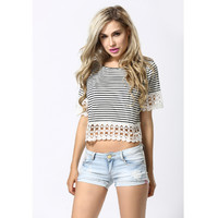 Summer Style Women Boho Crochet Stripe Crop Tops T-Shirt Blouse Casual O-Neck Loose Tees Short Sleeve T Shirt