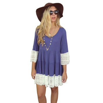 Female Flare Sleeve Lace Casual Loose Three Quarter Lace  Dress