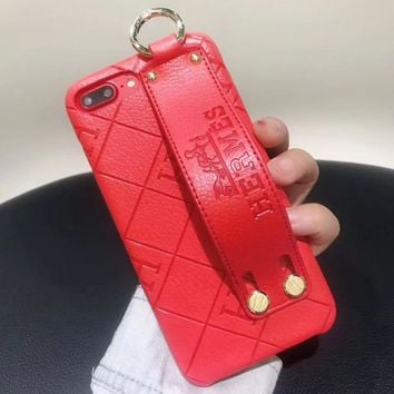 Hermes Fashion New Leather Case Women Men Protective Cover Phone Case Red