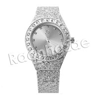 HIP HOP RAONHAZAE LUXURY SILVER FINISHED LAB DIAMOND WATCH