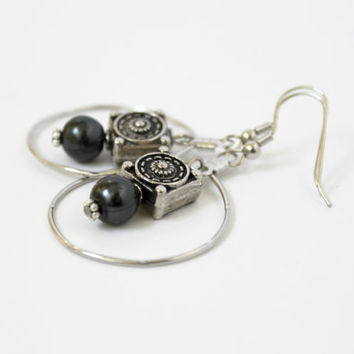 Dark Gray Faux Pearl and Silver Circle Dangle Earrings - Modern Handmade Jewelry - Long, Big, and Bold Earrings - Ready to Ship