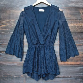 lioness road to nowhere gauzy lace romper with bell sleeves in navy