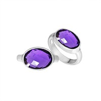 AR-6160-AM-6'' Sterling Silver Ring With Amethyst Q.