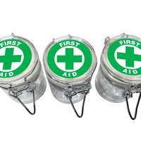 "Green First Aid Glass Stash Jar w/ Wire Top Lids - Air Tight Seal Lid 2.25"" Tall Choose 1, 3, or 5 Herb Display Jars Dispensary Medicinal"