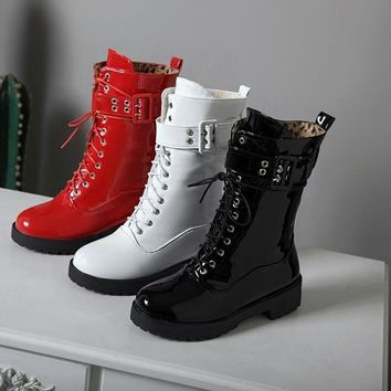 Women Fashion Black/White/Red Patent Leather Buckled Ankle Boots