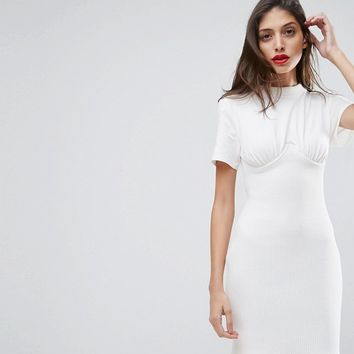 ASOS Ribbed Mini Corset Dress with Wired Cups at asos.com