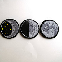 Moon brooches set of three crescent moon full moon and quarter moon hand embroidered