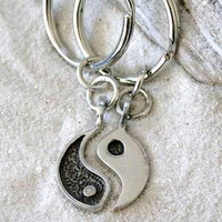 Pewter Yin Yang Chinese Taoism Yoga Namaste Meditation 2 piece Keychain Key Ring (54A-KC)