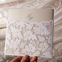 Lace Floral Wedding Invitation in White (Set of 50)