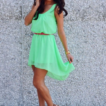 Can't Wait To Be Seen Dress: Neon Green   Hope's