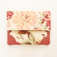 FLORIST 25 / Floral cotton & Natural leather folded clutch - Ready to Ship