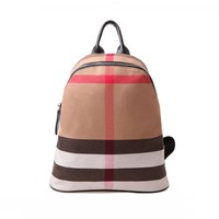 Plaid Striped Canvas Women Backpack Travel Bags