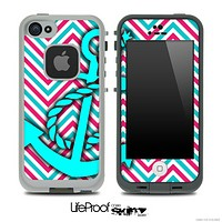 Pink/Blue Colored Chevron and Turquoise Anchor Skin for the iPhone 5 or 4/4s LifeProof Case