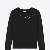 SAINT LAURENT STAR STUDDED CREWNECK SWEATSHIRT IN BLACK FRENCH TERRYCLOTH AND CLEAR CRYSTAL   YSL.COM