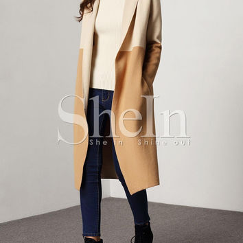 Khaki Color Block Shawl Collar Cardigan