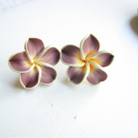 Plumeria Jewelry, Tropical Flower Earrings, Purple Yellow White Plumeria Earrings