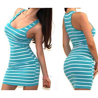 Sexy Bottom Skirt Black-and-White Stripe Self-cultivation I-shaped vest, Button Dress Only one piece Blue