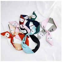 Fashion Women silk handbag scarf/New style with cute cat and rabbit print /Women's bandanas headbands Hair ribbons/For many uses