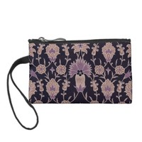 Vintage Floral Pattern - Black Mauve Pink Change Purse