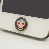 SPECIAL PRICE 1PC Retro Epoxy Glass Transparent Time Gems Skull Alloy Cell Phone Home Button Sticker Charm for iPhone 4s,4g,5,5c