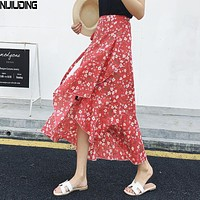 2018 floral print bohemian long skirts women Summer elegant beach maxi skirt Boho high waist asymmetrical ruffles cotton skirt