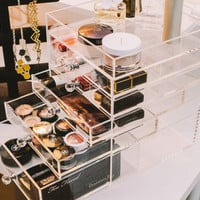 Storia Clear Functional Desktop Acrylic Makeup Organizer with Crystal Knob ~FREE SHIPPING UNTIL 5/14~