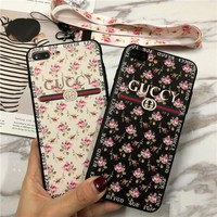Gucci Women Temperament Fashion Floral iPhoneX/8/6S Phone Soft Edge Hard Shell Apple iPhone7 Plus Phone Case