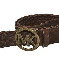 Michael Kors Braided Brown Leather, Brass Buckle 552518 Belt Size L