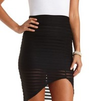 Mesh-Striped Asymmetrical Skirt by Charlotte Russe