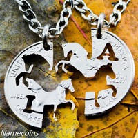 His and Hers Horse Jewelry, Customized with your initials, Interlocking Handcrafted Cut Quarter