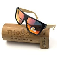 Free Shipping Hot Polarized Eyewear PC Frame with  Bamboo Temple Sunglasses  and Polarized REVO Lens W1001R Wooden Sunglasses