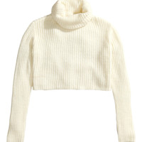 H&M - Short Turtleneck Sweater - Natural white - Ladies
