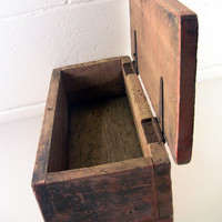 Fine Rustic Primitive Antique Wooden Box Hinged Lid Red Paint