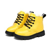 Girls Martin Boots Girls Boys Shoes Autumn PU Leather Children Boots Fashion Toddler Kids Boots Warm Winter Boots Boy Size 21-36