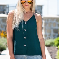 Stay On My Mind Button Down Tank : Hunter Green