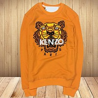 KENZO New fashion embroidery letter tiger couple long sleeve top sweater Orange