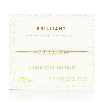 Gold Brilliant Morse Code Bar Bracelet