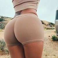Fashion Tight Solid Color Stretch Sport Shorts