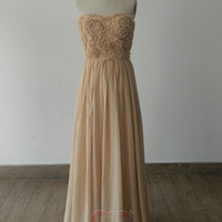 Handmade Custom Sweetheart Champagne Pleated Flower Chiffon Formal Long Prom Evening Party Bridesmaid Cocktail Homecoming Dress Gown